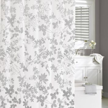 "Royal Bath 100% Cotton Shower Curtain (72"" x 72"") Floral Ombre Grey"