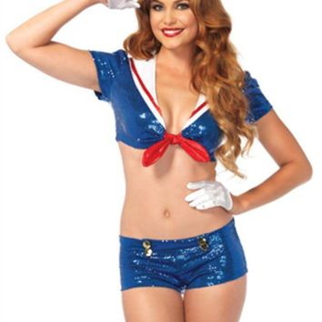 LMFH3W 3PC.Sequin Sailor tie top w/anchor accents  booty shorts hat in BLUE/WHITE