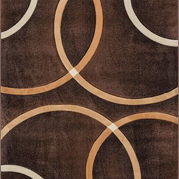 6083 Brown Circles Carved Contemporary Area Rugs