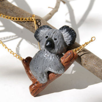 Koala Bear Necklace, Handmade Polymer Clay