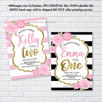 Rose birthday invitation, glitter floral invite, birthday , any age , little girl trun one, 1st birthday , 2nd, 3rd, 4th, 5th  - card 1233