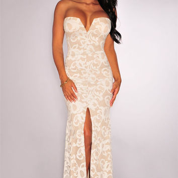 Strapless Sweatheart Backless Slit  Lace Gown