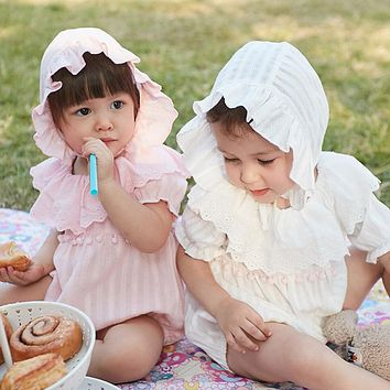 Summer Cotton Newborn Baby Girl Rompers With Hat  Infant Toddler Jumpsuit Lace Collar Short Sleeve Kids Girl Clothes