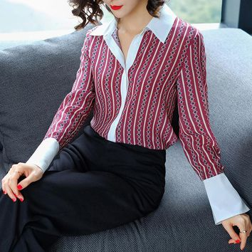 2018 new 100% real silk striped women spring shirt full sleeve turn-down collar shirt office lady blouse spring summer cloths