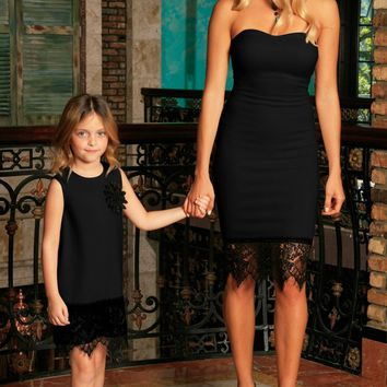 Black Stretchy Sleeveless Fancy Mother Daughter Dresses