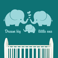 Elephant Wall Decal - Elephant Family - Baby Nursery wall decal with quote - Large World Map - Nursery Wall Decal - Baby Room Decor