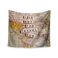 "Sylvia Cook ""Travel Bug"" Map Wall Tapestry"