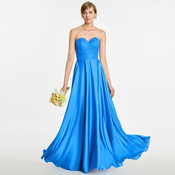 Strapless long bridesmaid dress royal blue sleeveless floor length a line gown women wedding party bridesmaid dresses