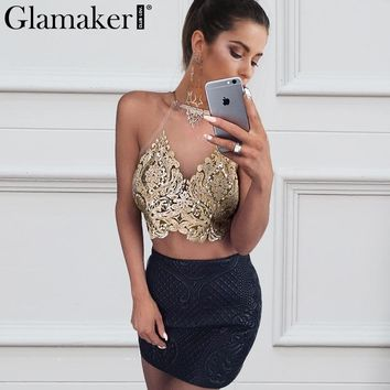 golden halter mesh tank top Autumn off shoulder bronzing short women tops Backless floral embroidery crop tops
