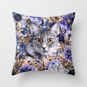 Cat in Flowers. Autumn Throw Pillow by Oksana