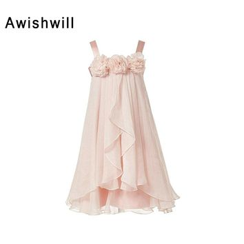 Spaghetti Strap Ankle Length Flower Girl Dresses With Handmade Flowers Chiffon Little Princess Girl Pageant Dresses Real Picture