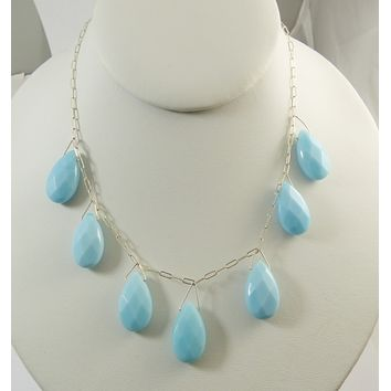Vintage Sky Blue Chalcedony Briolette Sterling Silver Necklace