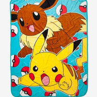 Licensed cool Pokemon GO Eevee & Pikachu Jump Pokeball Plush Soft Fleece Throw Blanket 46x60