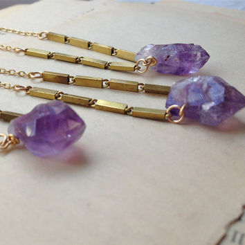 Amethyst crystal necklace, purple crystal chunk on long vintage brass chain