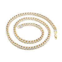 Franco Link Necklace 31 Inch Fully iced Out 14k Gold Finish 7mm Heavy 140+ Grams