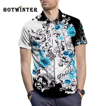 Summer Fashion Men Casual Flower Print Short Sleeve Lapel Beach Shirt Top