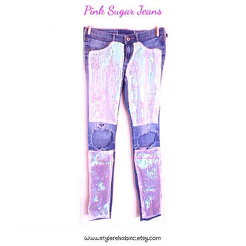 Pink Sugar Jeans.  Ripped, knees exposed, holographic pink sequins, mint shine.  Fashion.  Style Blog.