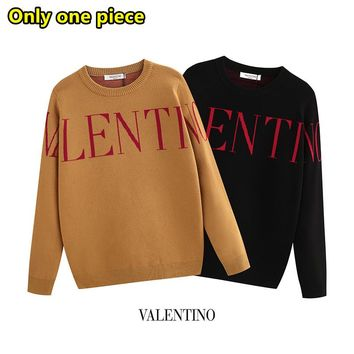 Valentino fashion trend wild letter print long sleeve sweater