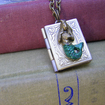 handpainted Mermaid Book Locket green shimmer tail mermaid gift for her mermaid lover ships quick from USA