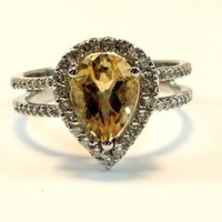 LOVE  GOLD RING WITH DIAMOND AND CITRINE by drndesigns on Etsy