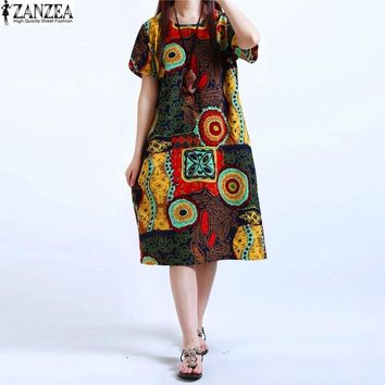 M-5XL ZANZEA NEW Womens O Neck Floral Print Short Sleeve Cotton Linen Casual Knee Length Dress Baggy Boho Tunic Kaftan Plus Size