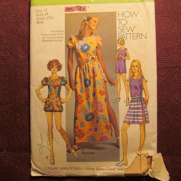 SALE Uncut 1970's Simplicity Sewing Pattern, 9288! Size 12 Small/Medium/Women's/Misses/Juniors/Teens/Rompers/Jumper/Overall Shorts/Flared Sk