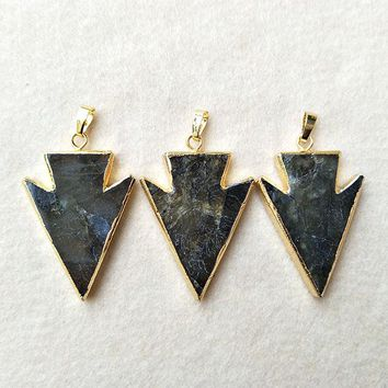 5pc Natural Labradorite Pendant Bead,Gold color Arrowhead,Peacock Shining Labradorite Arrow charm Jewelry necklace Making P248
