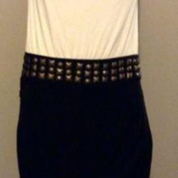 International White Black Bodice Dress cocktail Stud Wrap cowl neck sleeveless M