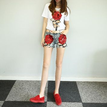 KL1203 New arrival bermudas summer fashion embroidery sequined women shorts mujer quality denim jeans