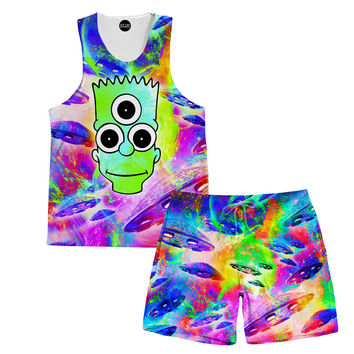 Psychedelic Bart Tank and Shorts Rave Outfit