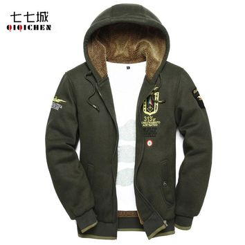 2017 Winter Plus Velvet Men Hoodie Sweatshirt Air Force Pilot Thick Casual Military Hooded Jacket Zipper Cardigan Hoodie Men 4XL