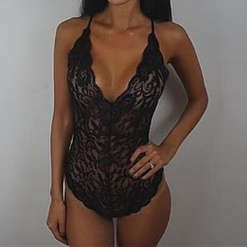 Sexy Women's Lace V-Neck Bodysuit.   Sizes Medium to 2XL.   In Black, White and Red.   ***FREE SHIPPING***