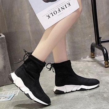 Sale Balenciaga Speed HIGH Scrub Ankle Boots Sport Shoes Black White Color