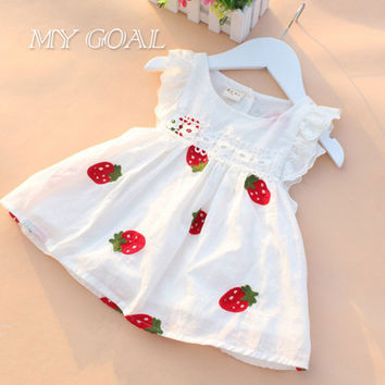 Baby Girl Dress Baby  0-2Y Newborn Summer Embroidery Flower Strawberry Cotton Dress Infant for Baby  Birthday Dress
