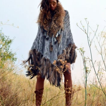 Fur Poncho with Tassels in Light Blue