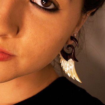 Fake Gauges  Angel Shell Wings  Large Brown by TribalStyle on Etsy