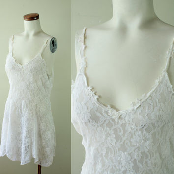 80s/90s - Vintage - White - See Through - Floral Lace - Stretch - Spaghetti Strap - Nightie - Lingerie