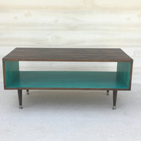 Coffee Table-Handmade Mid Century Modern Light Teal and CHOCOLATE  Brown (or custom color) Coffee Table Furniture