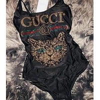 GUCCI Cute Cat Sequins Cross One Piece Swimwear Bikini Swimsuit