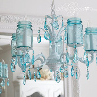 Vintage Mason Jar Chandelier...Aqua Crystals....Made To ORDER...Plethora of Treasuries..LAYAWAY Available