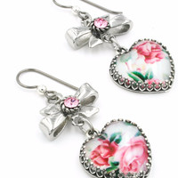 Pink Rose Broken China Heart Earrings