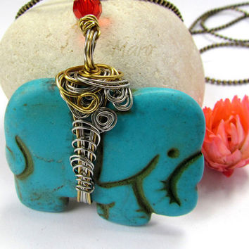 Howlite Elephant Pendant turquoise blue wire by SandstarJewelry