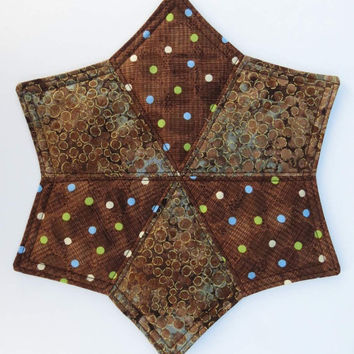 Two Mug Rugs, Snack Placemats, Coasters, Brown, Blue and Green Accents