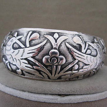 Silver Etched Bird and Flowers Vintage Cuff Bracelet