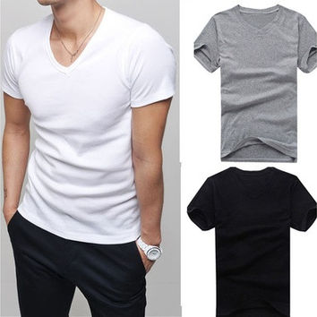Men clothes t shirt high-elastic cotton men's short sleeve v neck tight shirt male T-shirt Tee [10312515715]