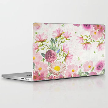 Flower Drawing Laptop Decal, Floral Design, Flower Illustration Vinyl Laptop Decal for Apple Macbook Air, Macbook Pro Retina, Macbook Pro
