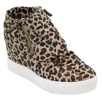 Not Rated Arabelle Leopard Wedge Sneakers