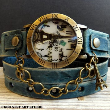 Leather Watch, Women's Watch, Wrap around Watch, Ladies watch, Bracelet Watch, Distressed denim blue watch with Eiffel tower charm