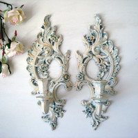 Antique White Vintage Candle Holders, Patina and Gold Distressed Wall Sconces, Shabby Chic Wall Decor, Ornate Candlestick Holders