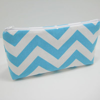Chevron Cosmetic Pouch, Curvy Cosmetic Bag, Aqua Chevron Accessory Pouch, Zippered Pouch, Ready to Ship